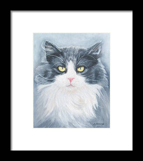 Pet Portrait Artist Framed Print featuring the painting Cat Print Pet Portrait Artist For Hire Commission by Diane Jorstad