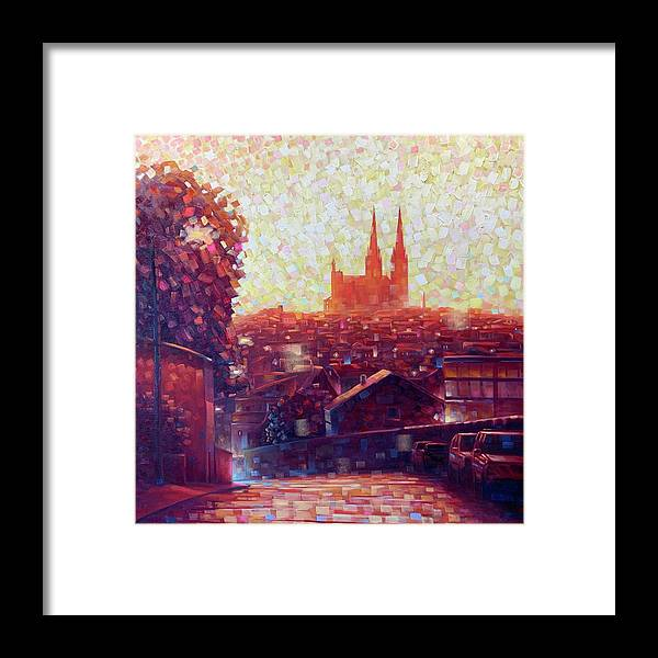 Auvergne Framed Print featuring the painting Cathedral Sunrise by Robert Buntin