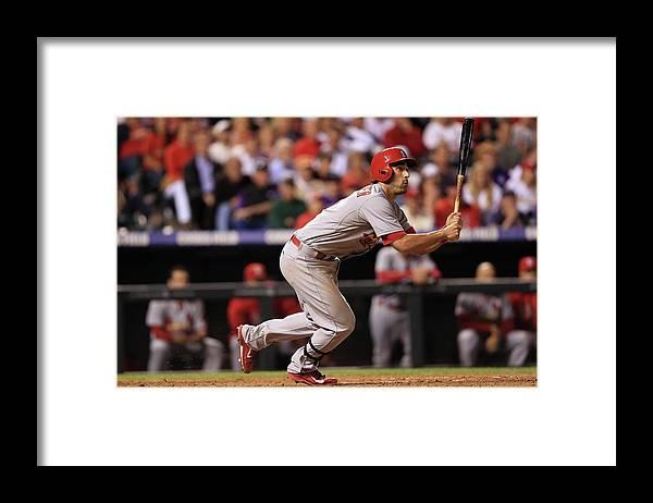 St. Louis Cardinals Framed Print featuring the photograph Chad Bettis, Matt Carpenter, and Pete Kozma by Doug Pensinger