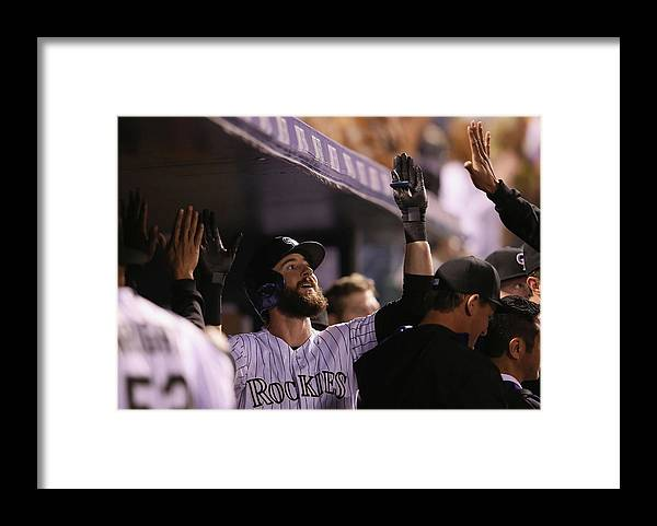 Celebration Framed Print featuring the photograph Charlie Blackmon by Doug Pensinger