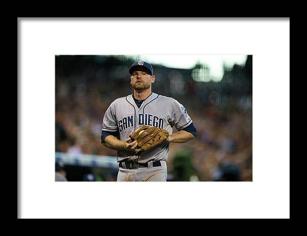 Foul Framed Print featuring the photograph Chase Headley by Dustin Bradford