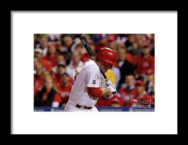 Playoffs Framed Print featuring the photograph Chase Utley by Al Bello