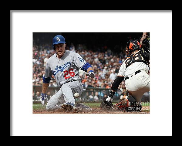 San Francisco Framed Print featuring the photograph Chase Utley and Buster Posey by Thearon W. Henderson