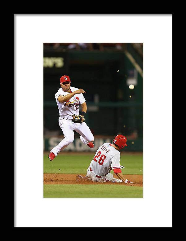 St. Louis Cardinals Framed Print featuring the photograph Chase Utley and Jhonny Peralta by Dilip Vishwanat
