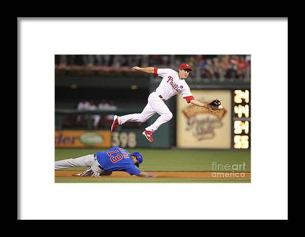 Citizens Bank Park Framed Print featuring the photograph Chase Utley And Starlin Castro by Hunter Martin