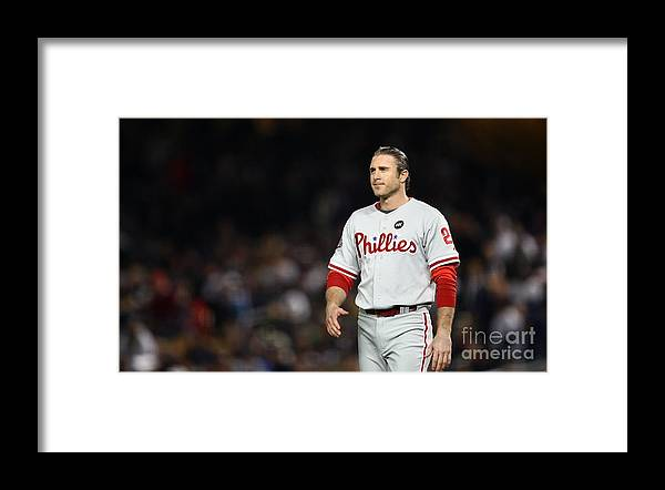 Game Two Framed Print featuring the photograph Chase Utley by Chris Mcgrath