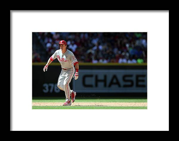 2nd Base Framed Print featuring the photograph Chase Utley by Christian Petersen