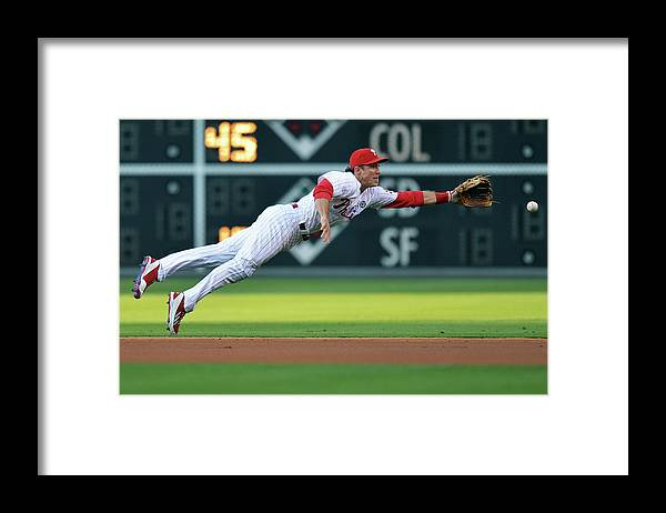 Ball Framed Print featuring the photograph Chase Utley by Drew Hallowell