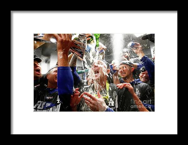 Championship Framed Print featuring the photograph Chase Utley by Jamie Squire