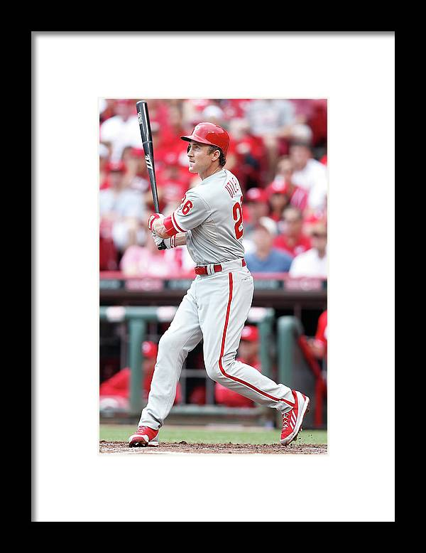 Great American Ball Park Framed Print featuring the photograph Chase Utley by Joe Robbins