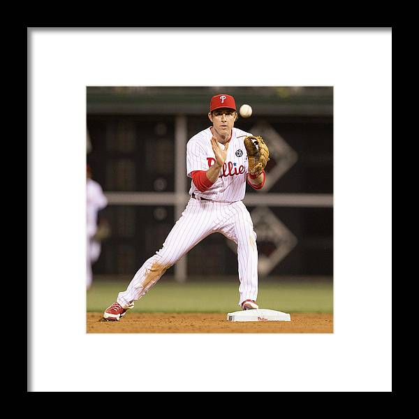 Double Play Framed Print featuring the photograph Chase Utley by Mitchell Leff