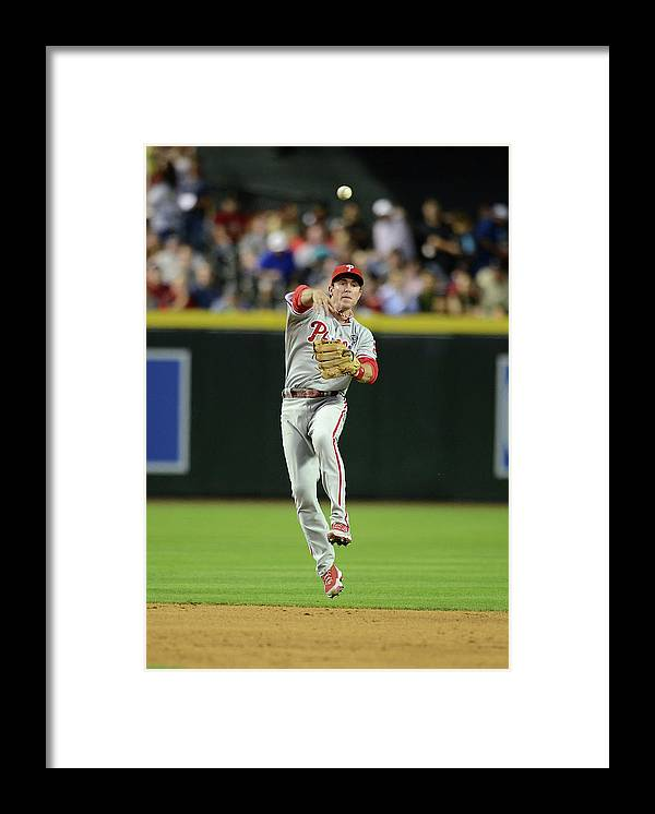 American League Baseball Framed Print featuring the photograph Chase Utley by Norm Hall