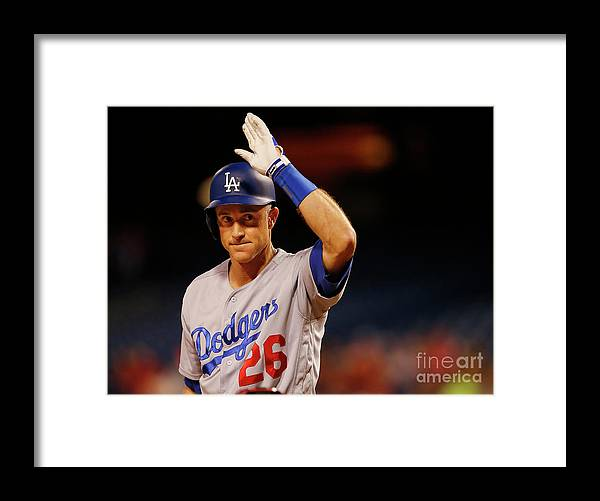 Crowd Framed Print featuring the photograph Chase Utley by Rich Schultz