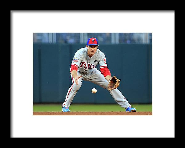 American League Baseball Framed Print featuring the photograph Chase Utley by Rob Carr