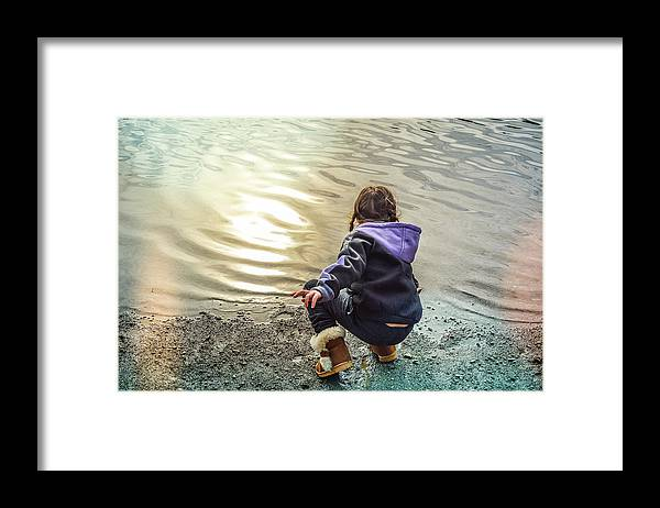 Child Framed Print featuring the photograph Chasing River Rainbows by Cindy Nunn