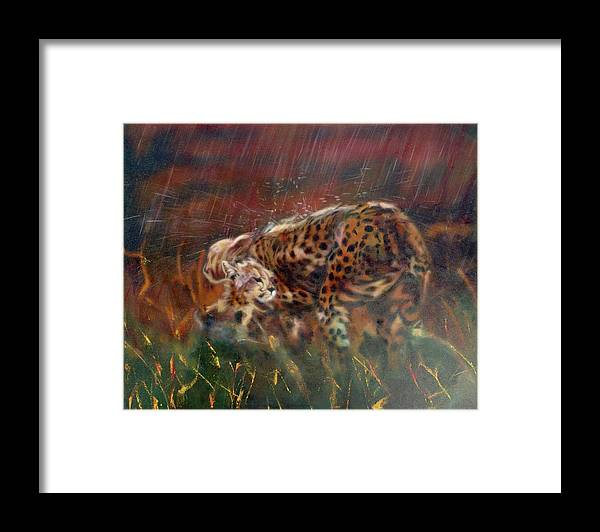 Oil Painting On Canvas Framed Print featuring the painting Cheetah Family After The Rains by Sean Connolly
