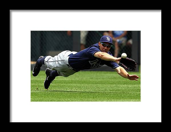 People Framed Print featuring the photograph Cheslor Cuthbert and Grady Sizemore by Jamie Squire
