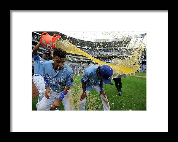 Salvador Perez Diaz Framed Print featuring the photograph Cheslor Cuthbert and Raul Mondesi by Ed Zurga