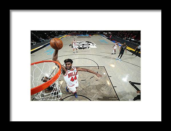 Nba Pro Basketball Framed Print featuring the photograph Chicago Bulls v Brooklyn Nets by Nathaniel S. Butler