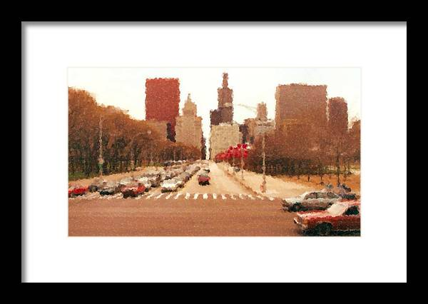 Chicago Sears Tower Framed Print featuring the mixed media Chicago Sears Tower by Asbjorn Lonvig