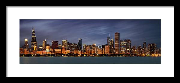 3scape Framed Print featuring the photograph Chicago Skyline at Night Color Panoramic by Adam Romanowicz