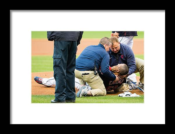 People Framed Print featuring the photograph Chicago White Sox v Cleveland Indians by Jason Miller