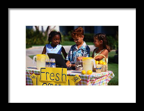 Child Framed Print featuring the photograph Children Selling Lemonade at Lemonade Stand by SW Productions