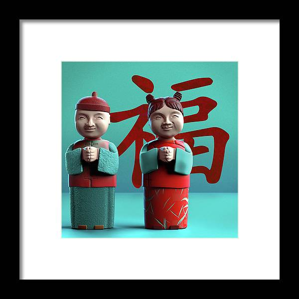 China Framed Print featuring the digital art Chinese Good Luck Statues by Heike Remy