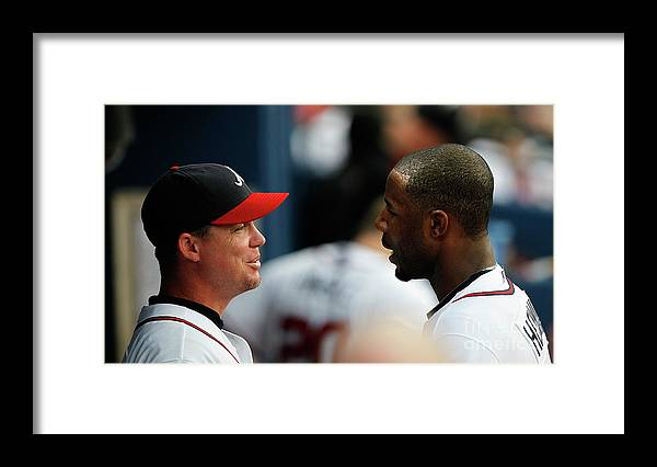 Atlanta Framed Print featuring the photograph Chipper Jones and Jason Heyward by Kevin C. Cox
