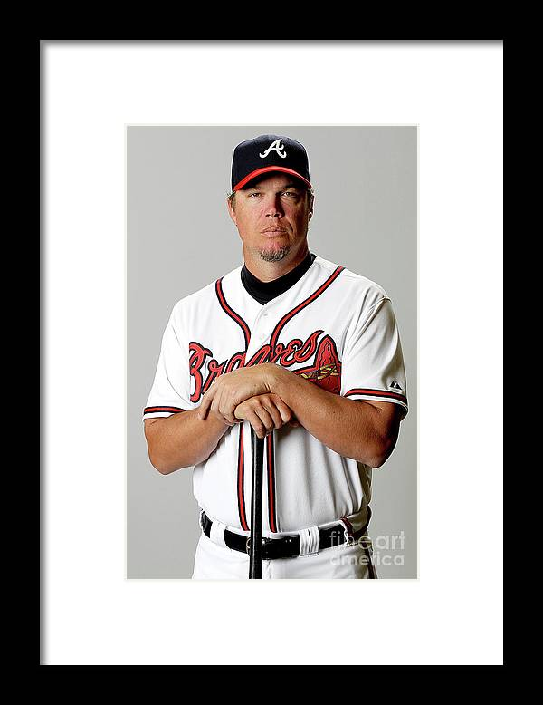 Media Day Framed Print featuring the photograph Chipper Jones by Matthew Stockman