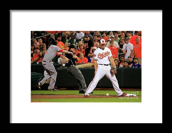 American League Baseball Framed Print featuring the photograph Chris Davis and Billy Hamilton by Rob Carr