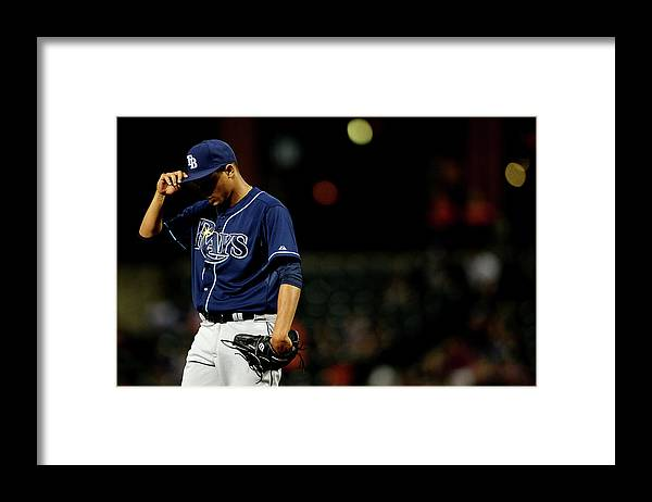Second Inning Framed Print featuring the photograph Chris Davis and Chris Archer by Patrick Smith
