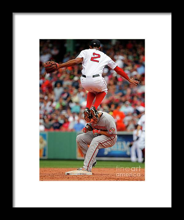 People Framed Print featuring the photograph Chris Davis and Xander Bogaerts by Winslow Townson