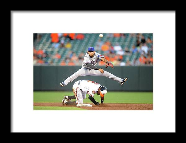 American League Baseball Framed Print featuring the photograph Chris Davis, Rougned Odor, and Adam Jones by Mitchell Layton