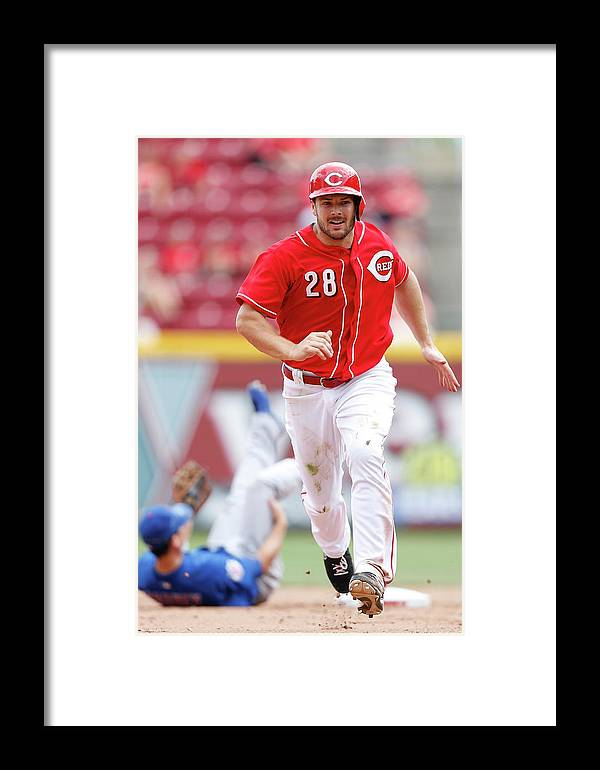 Great American Ball Park Framed Print featuring the photograph Chris Heisey by Joe Robbins