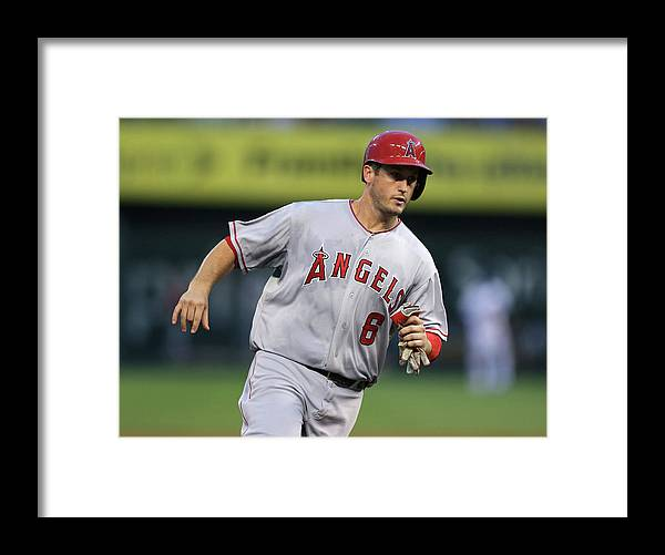 American League Baseball Framed Print featuring the photograph Chris Iannetta and David Freese by Ed Zurga