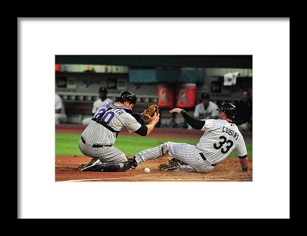 Ball Framed Print featuring the photograph Chris Iannetta by Ronald C. Modra/sports Imagery