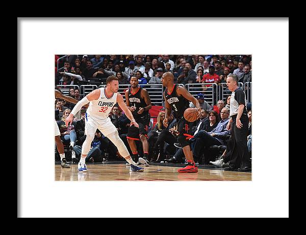 Nba Pro Basketball Framed Print featuring the photograph Chris Paul and Blake Griffin by Andrew D. Bernstein