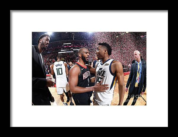Playoffs Framed Print featuring the photograph Chris Paul and Donovan Mitchell by Andrew D. Bernstein
