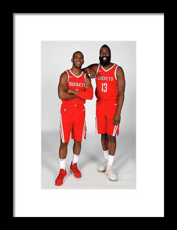 Media Day Framed Print featuring the photograph Chris Paul and James Harden by Nba Photos