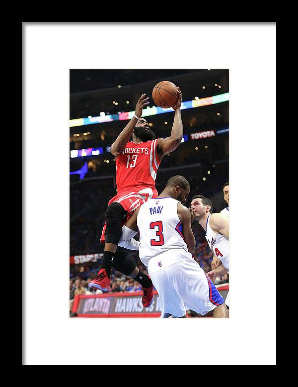 Playoffs Framed Print featuring the photograph Chris Paul and James Harden by Stephen Dunn