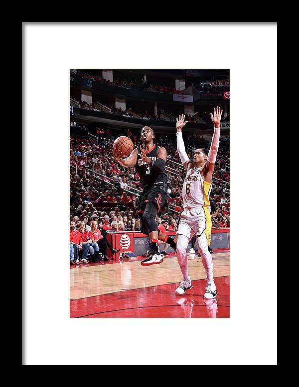 Nba Pro Basketball Framed Print featuring the photograph Chris Paul and Jordan Clarkson by Bill Baptist