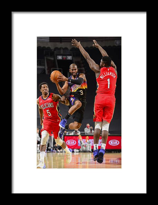 Nba Pro Basketball Framed Print featuring the photograph Chris Paul and Zion Williamson by Barry Gossage