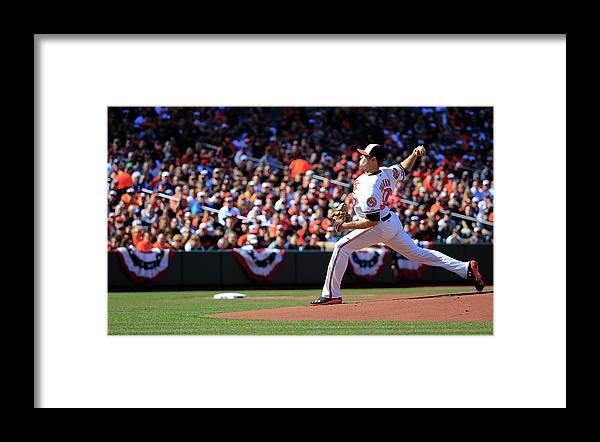 American League Baseball Framed Print featuring the photograph Chris Tillman by Rob Carr