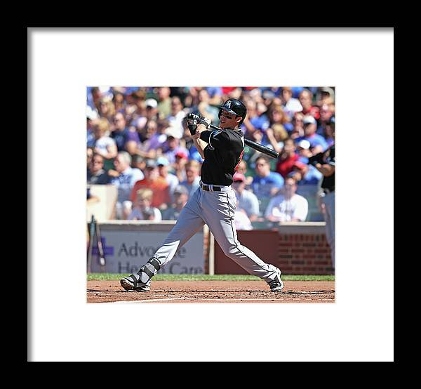 National League Baseball Framed Print featuring the photograph Christian Yelich by Jonathan Daniel