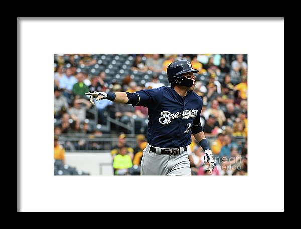 Second Inning Framed Print featuring the photograph Christian Yelich by Justin Berl