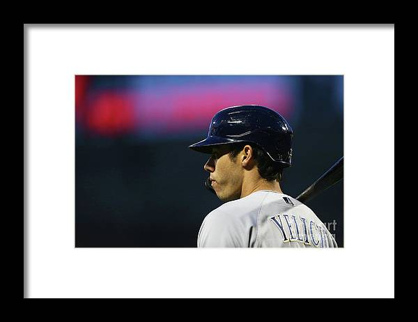 People Framed Print featuring the photograph Christian Yelich by Mike Stobe