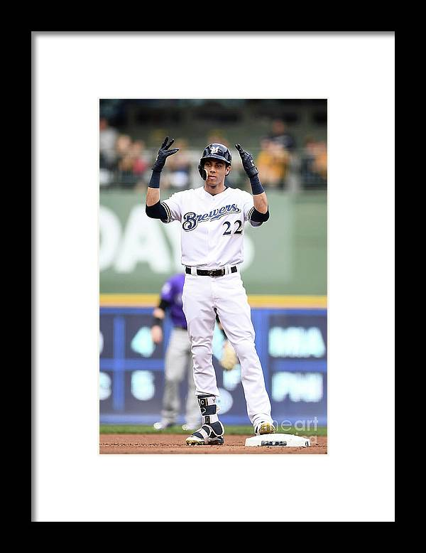 People Framed Print featuring the photograph Christian Yelich by Stacy Revere