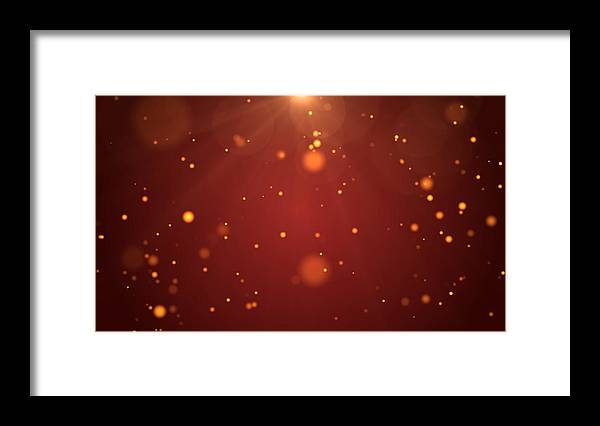 Particle Framed Print featuring the photograph Christmas Background, De-focused Gold Colored Particles on Red Background with Lens flare by MR.Cole_Photographer