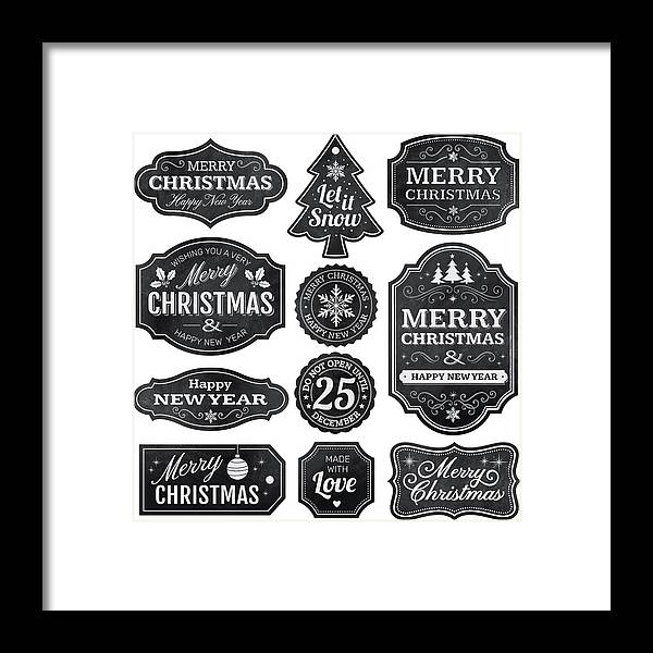 Holiday Framed Print featuring the drawing Christmas Chalkboard Labels by Paci77